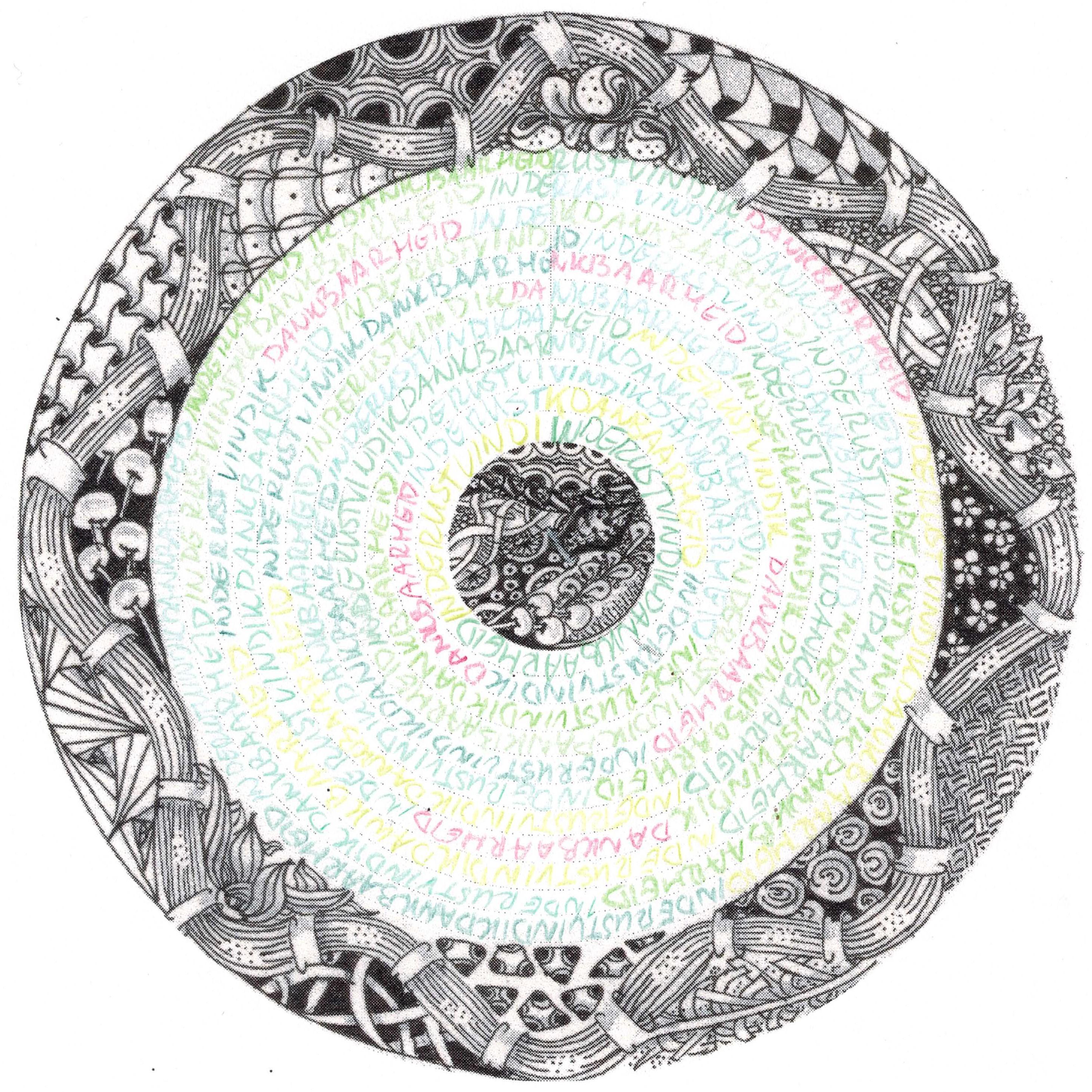 Werkblad sqribl gemaakt met kleurpotloden